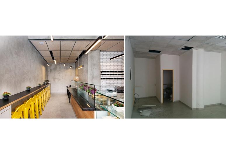 לפני עיצוב - חלל משרדי מיושן ומאובק - אחרי עיצוב - חלל עדכני מזמין ומודרני