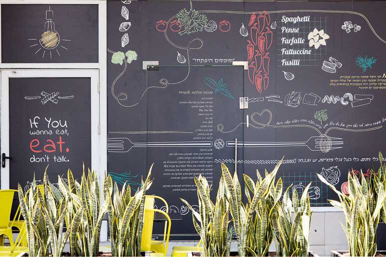 חיפוי חזית מסעדה בטפט מודפס עם גרפיקה בשפת המותג