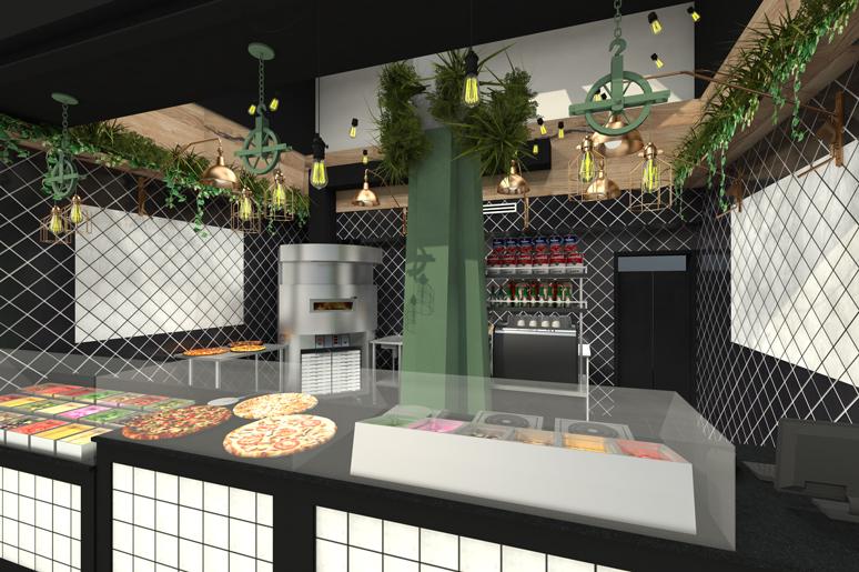 תכנון ועיצוב חיפויי קיר עשויים עץ ואריחי קרמיקה בשילוב צמחיה מלאכותית, עיצוב גופי תאורה בסגנון תעשייתי