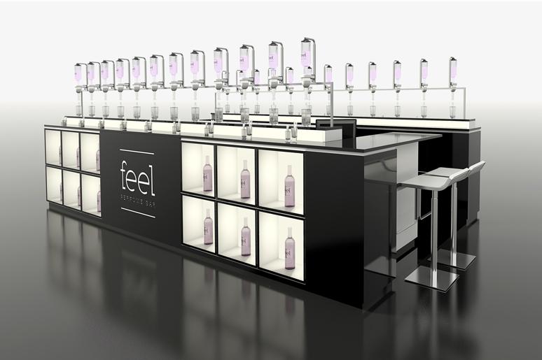 בר הבשמים הזה עוצב בצורת בר משקאות אלכוהוליים כאשר כל הבשמים מוצגים בתוך בקבוקי שתיה מזכוכית