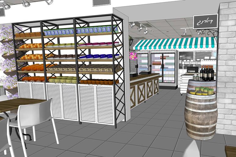 תכנון יחידת אחסון ותצוגה בשילוב עמדות תצוגה בסגנון רחוב ושוק אורבני