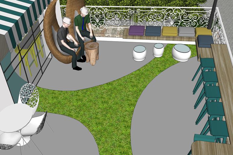 סקיצה לתכנון משטח דשא צורני במרפסת חיצונית
