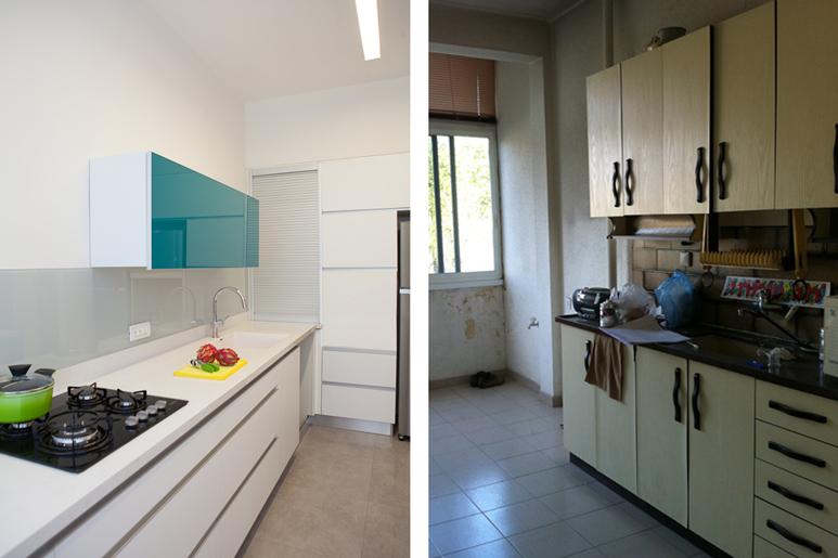 מטבח לפני ואחרי שיפוץ