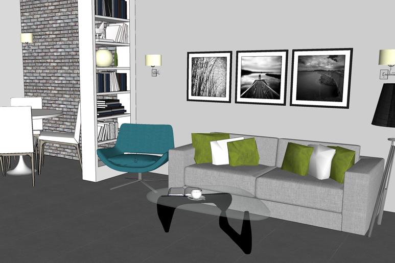 הסלון עוצב בצבעוניות רגועה ונעימה