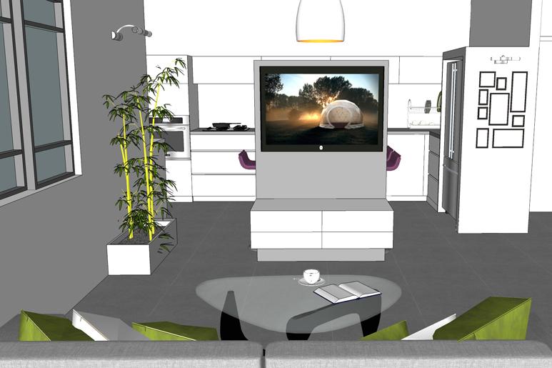מסך הטלוויזיה מסתובב גם לסלון וגם למטבח
