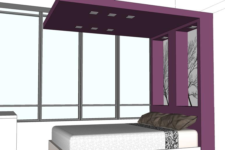 חדר השינה שעבר לאזור המרפסת זה בנישה חובקת