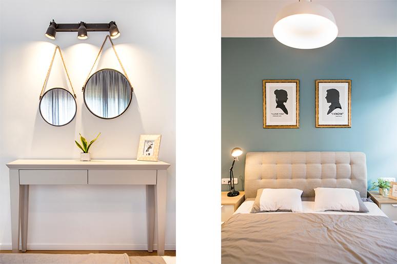 משמאל - קונסולה מראות עגולות וגוף תאורה תעשייתי . מימין - עיצוב חדר הורים מתחיל בצבעית קיר גב המיטה בגוון עמוק