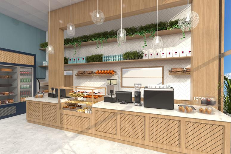 תכנון ועיצוב דלפק מכירה הכולל עמדת אספרסו, קופות, מקרר כריכים ושלל מוצרים בחיפוי עץ אלון מחורץ