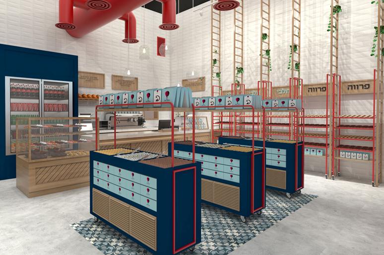 עיצוב בית קפה מאפייה| קונדיטוריה הכולל סולמות בהשראת שם המותג ועגלות תצוגת מאפים