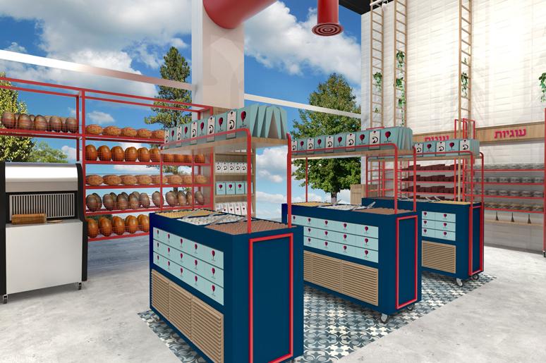 תכנון ועיצוב פנים הכולל עיצוב עמדות תצוגה למאפים ועוגיות בשילוב מקום לאריזות ממותגות