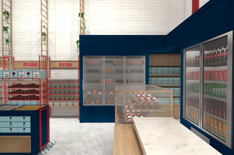 עיצוב חיפויים למקררי תצוגה ועמדות תצוגת לחמים ועוגיות עשויות ברזל, רשת ועץ אלון מגוון