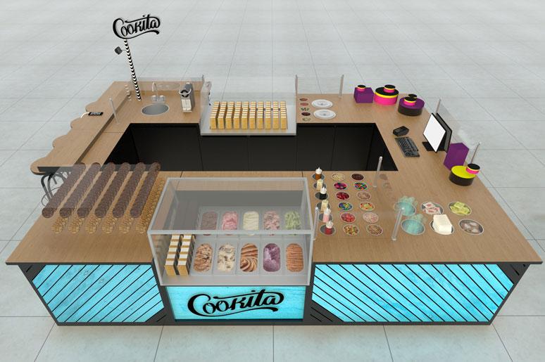 עיצוב דוכן גלידה בקניון בקונספט שונה - גלידת סנדוויץ המוגשת בתוך שתי עוגיות איכותיות