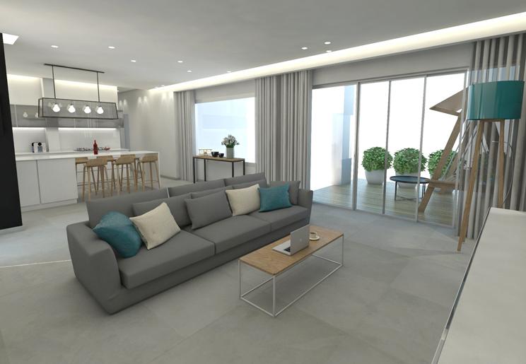 עיצוב דירת קבלן בפרויקט יוקרתי בתל אביב למשפחה צעירה