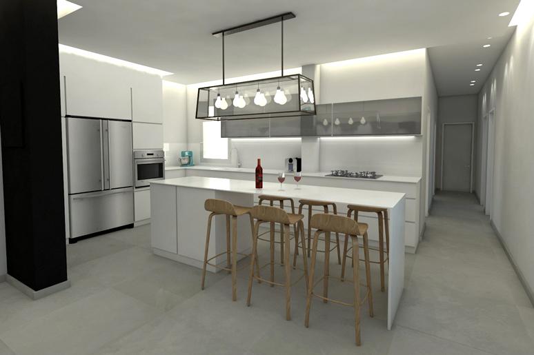 עיצוב מטבח מודרני בשילוב משטח קוריאן לבן, כסאות בר מעץ וגוף תאורה בסגנון תעשייתי