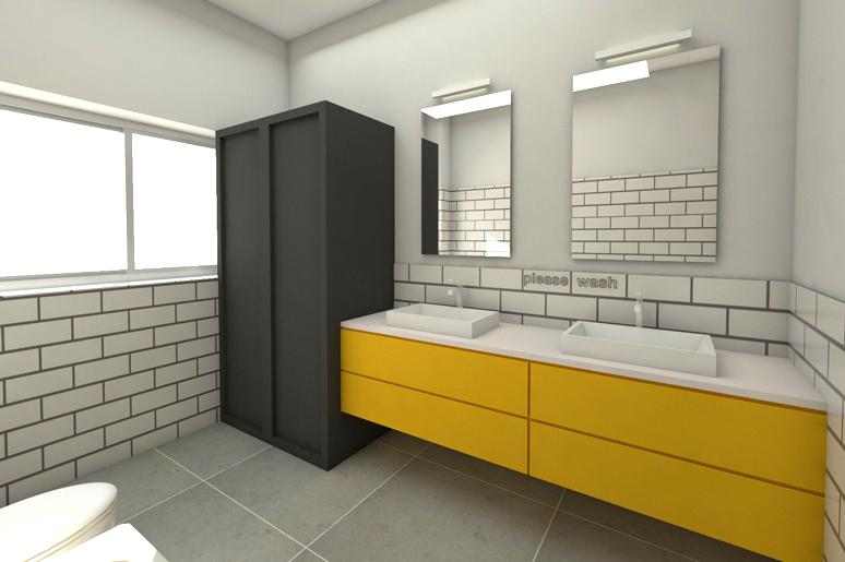 עיצוב חדר רחצה בעזרת חיפוי בריקים לבנים עד גובה נמוך, שילוב ארון כיור בגמר צבע צהוב, ארון שחור גבוה להסתרת מכונות הכביסה ושני כיורים בשילוב שתי מראות לשני הילדים