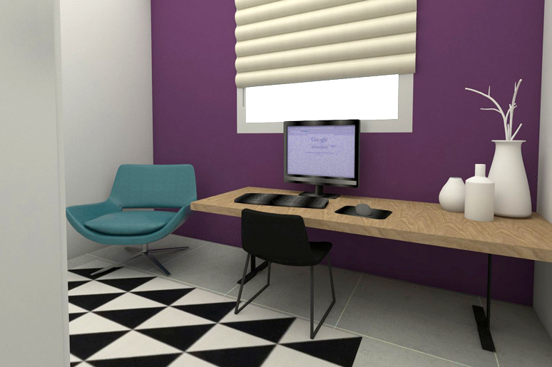 חדר העבודה מעוצב בגוונים עדכניים בשילוב שטיח עם אלמנטים גרפיים מודרניים