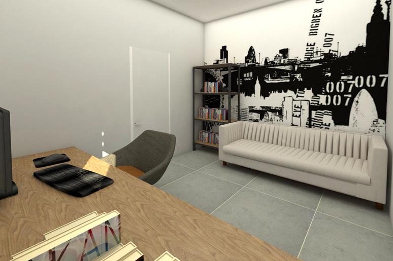 חדר העבודה תוכנן במראה תעשייתי בשילוב טפט קיר גדול בגוון שחור ולבן, סיפריית ברזל ושולחן עץ אלון מעושן