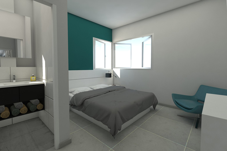 מבט מהכניסה אל חדר השינה של ההורים בקצה הדירה