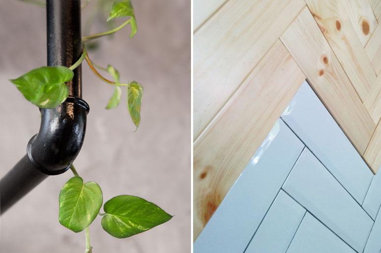 מימין - חיפוי קרמיקה מעל משטחי עבודה בשילוב חיפוי עץ אורן.  משמאל - פינת מדפי התצוגה עשויים צינורות אינסטלציה צבועים בשחור