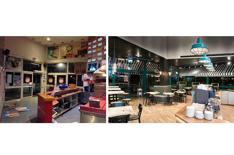 עיצוב פיצריה - לפני ואחרי