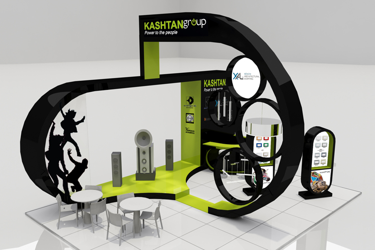 תכנון ועיצוב ביתן לתערוכה במיקום פינתי ומרכזי