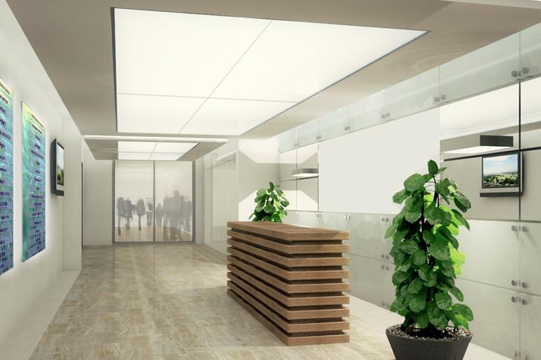 עיצוב לובי של בניין משרדים במרכז הארץ. יצירת חלל מואר, בהיר ומרווח