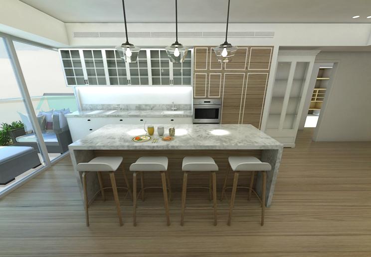 המטבח מאופיין בשילוב רצפת פרקט, שיש דמוי קאררה, גופי תאורה מזכוכית וחיפויי עץ
