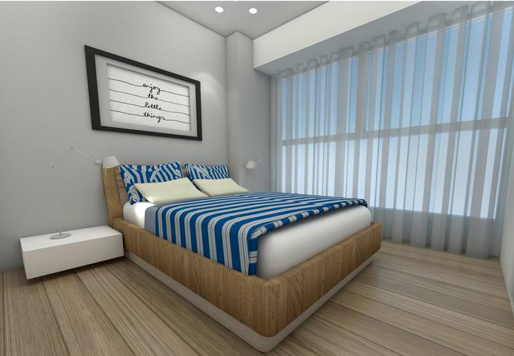חדר האורחים תוכנן בקצה הדירה בצד חדר הרחצה המשני