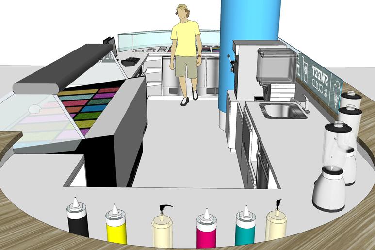 עיצוב דוכן גלידה ויוגורט - מבט פנים לעמדות השירות