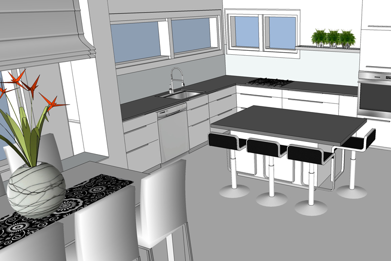 תכנון אי במרכז מטבח קיים משדרג את החלל והחוויה המשפחתית