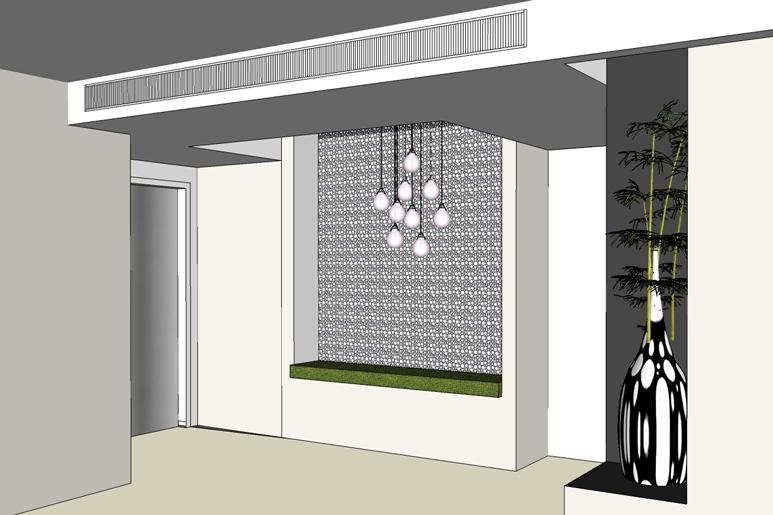 תכנון נישה בכניסה לבית בשילוב הנמכות תקרה למיזוג