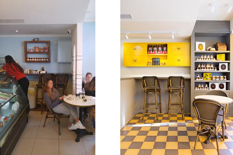 הדלפק הישן שהיה דחוס בין קיר גבס ודלפק המכירה הפך לאזור נחשק לישיבה בעזרת תכנון נכון של פרופורציות, צבעים ותאורה