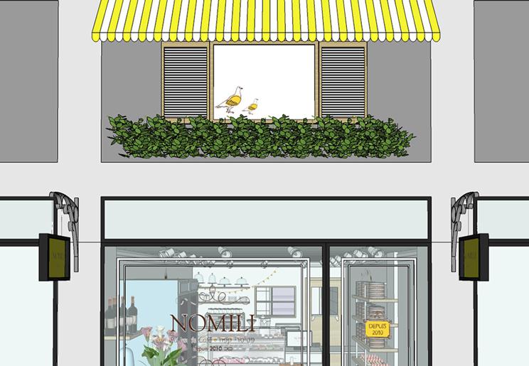 הסגנון הצרפתי המובהק של נומילי ליווה את התכנון גם בתכנון חזית החנות בעזרת פרגולה בגווני המותג