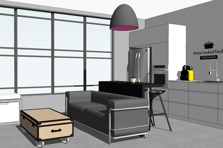 הדמיות בתהליך התכנון של עיצוב דירה קטנה לזוג צעיר בתקציב מוגבל