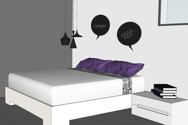 שילוב מדבקות קיר בחדר השינה