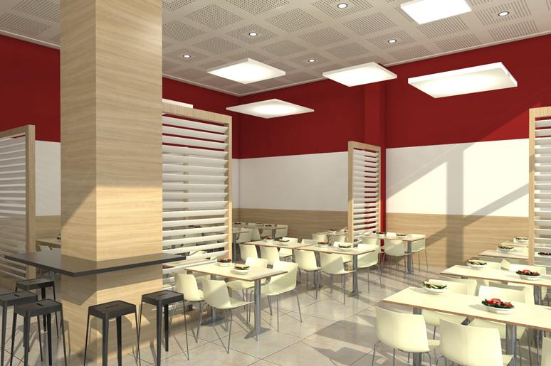 עיצוב חלל הישיבה בעזרת מחיצות עץ וגופי תאורה במראה מרחף