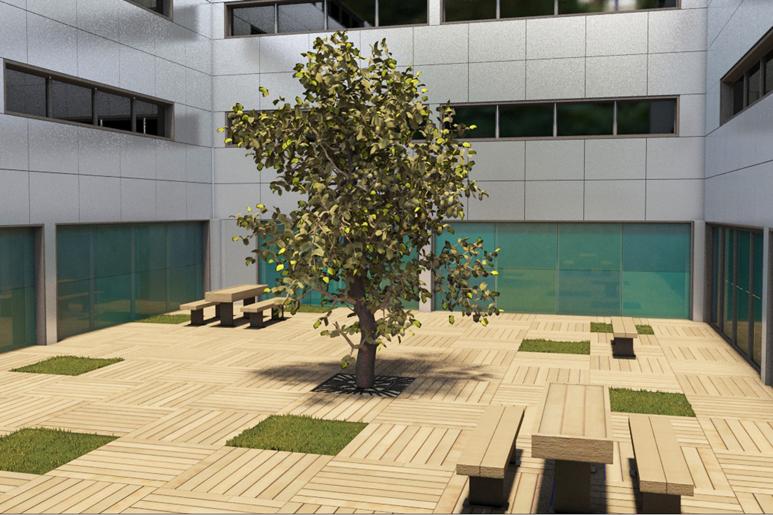 """צכנון ועיצוב פטיו בבניין משרדים ע""""י חיפוי רצפה קיימת במשטחי דק בשילוב משטחי דשא ופינות ישיבה"""