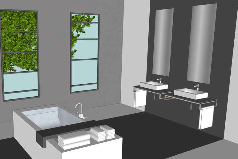 עיצוב חדר רחצה הורים עם אמבטיה מפנקת העומדת עצמאית בחלל ותכנון שני כיורים ומראות נפרדות