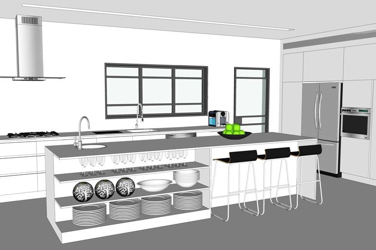 תכנון מטבח מודרני בקווים נקיים