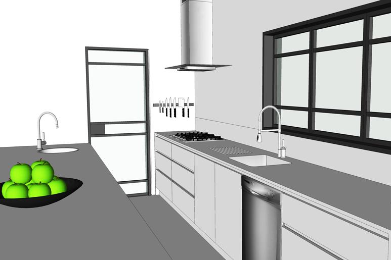 משטח העבודה במטבח מוביל אל חדר המזווה הגדול