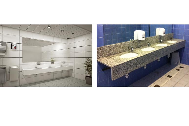 לפני ואחרי עיצוב שירותים בבניין משרדים