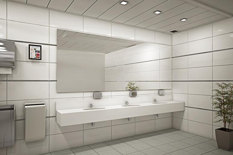שיפוץ חדר שירותים בבניין משרדים - יצירת חלל לבן, מואר ואסתטי עם נגיעות פרזול כסוף בכלים הסניטרים, המראות, פרופילי ניתוק ואובייקטים נילווים