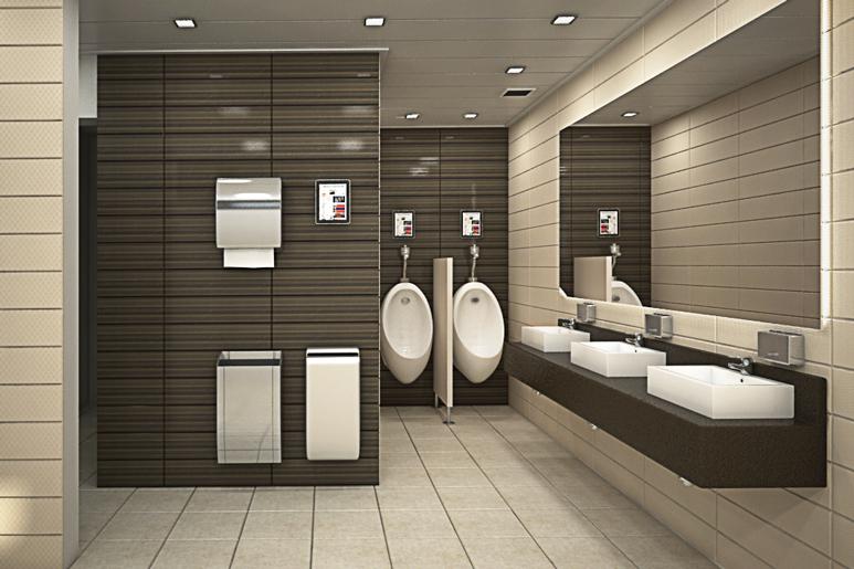 שיפוץ חדר שירותים בבניין משרדים - אופציה שניה לשירותי הגברים בשילוב גווני חום וקרם ומשחקי תאורה