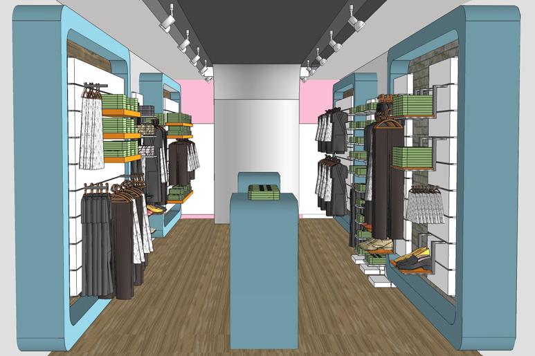 עיצוב חנות בגדים ונעליים