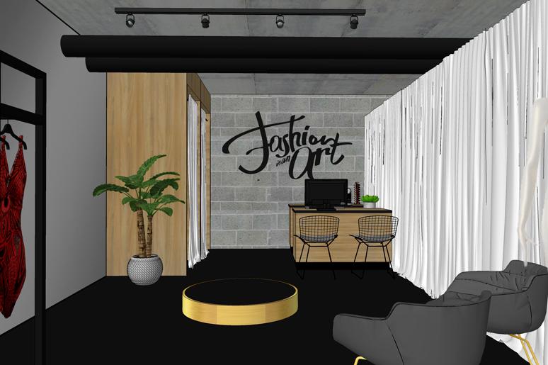 בחלל המכירה שני תאי מדידה עשויים עץ, שולחן קופה המאפשר אריזה וקבלת הזמנות, במת מדידה מרכזית וקיר בטון חשוף מאחור