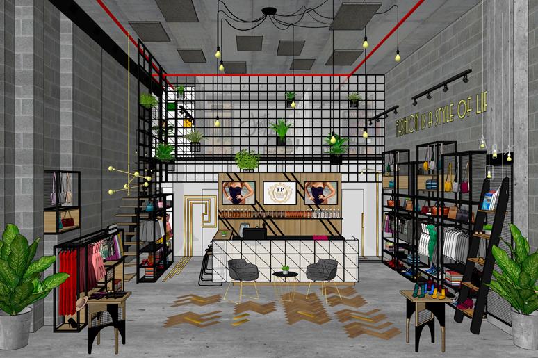 חנות בגדים מעוצבת בסגנון תעשייתי, צעיר ועדכני. החנות מחולקת לחלל תצוגה ומכירה תחתון וחלל תפירה והתאמה אישית בחלל העליון