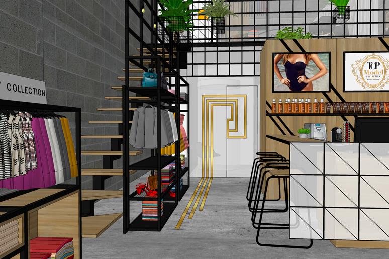 מבט אל תאי המדידה וחדרי השיזוף שמאחור הממוקמים מאחורי קיר מחופה עץ בשילוב טלוויזיות המציגות את הקולקציות השונות