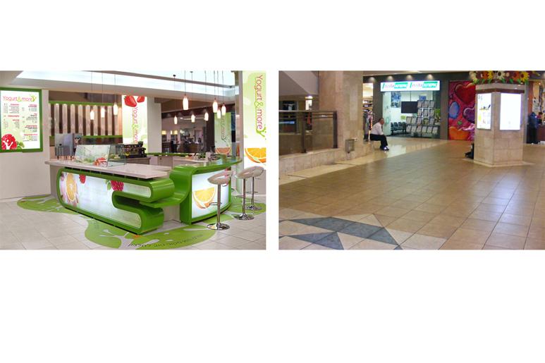 לפני ואחרי הקמת דוכן יוגורט בקניון