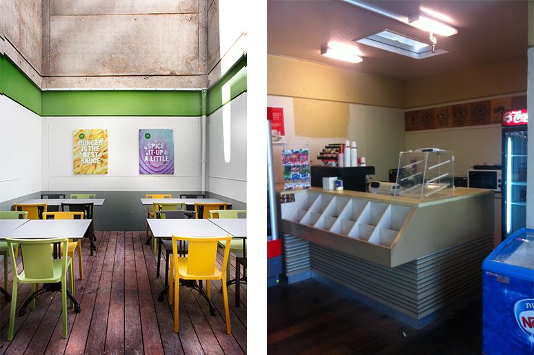 לפני ואחרי שיפוץ קפיטריה באוניברסיטת תל אביב - מפטיו ששימש כמחסן לפינת ישיבה מזמינה