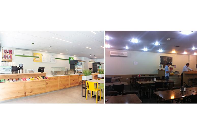 לפני ואחרי שיפוץ קפיטריה באוניברסיטת תל אביב - עמדת קפה ומאפה התווספה בתהליך התכנון